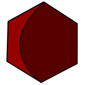 a dark red hexagon with a crescent cut out of it in a lighter red